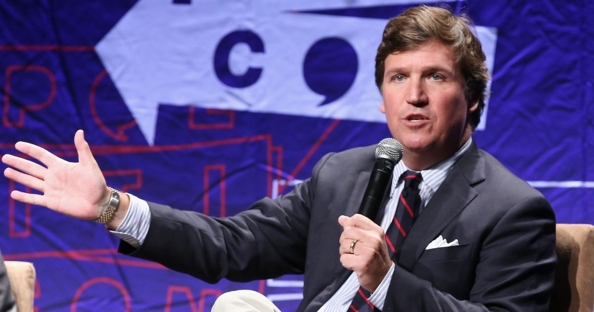 Tucker Carlson speaks onstage during Politicon 2018 at Los Angeles Convention Center on Oct. 21, 2018, in Los Angeles.
