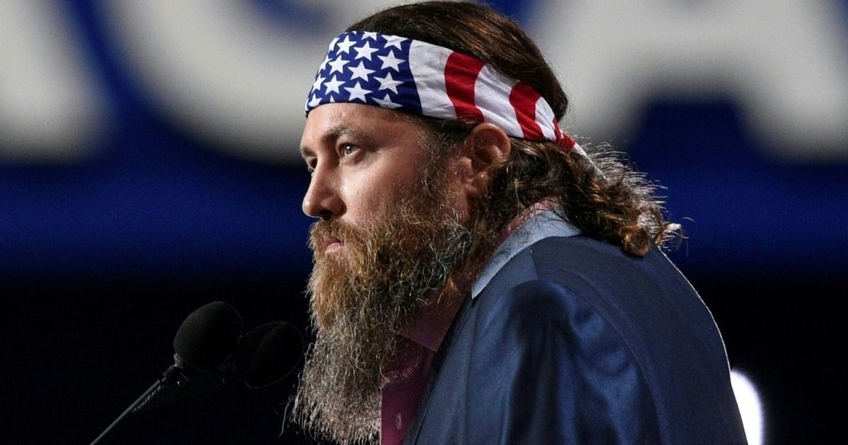 CEO of Duck Commander and Buck Commander Willie Robertson speaks to delegates on the opening day of the Republican National Convention at the Quicken Loans arena in Cleveland, Ohio, on July 18, 2016.