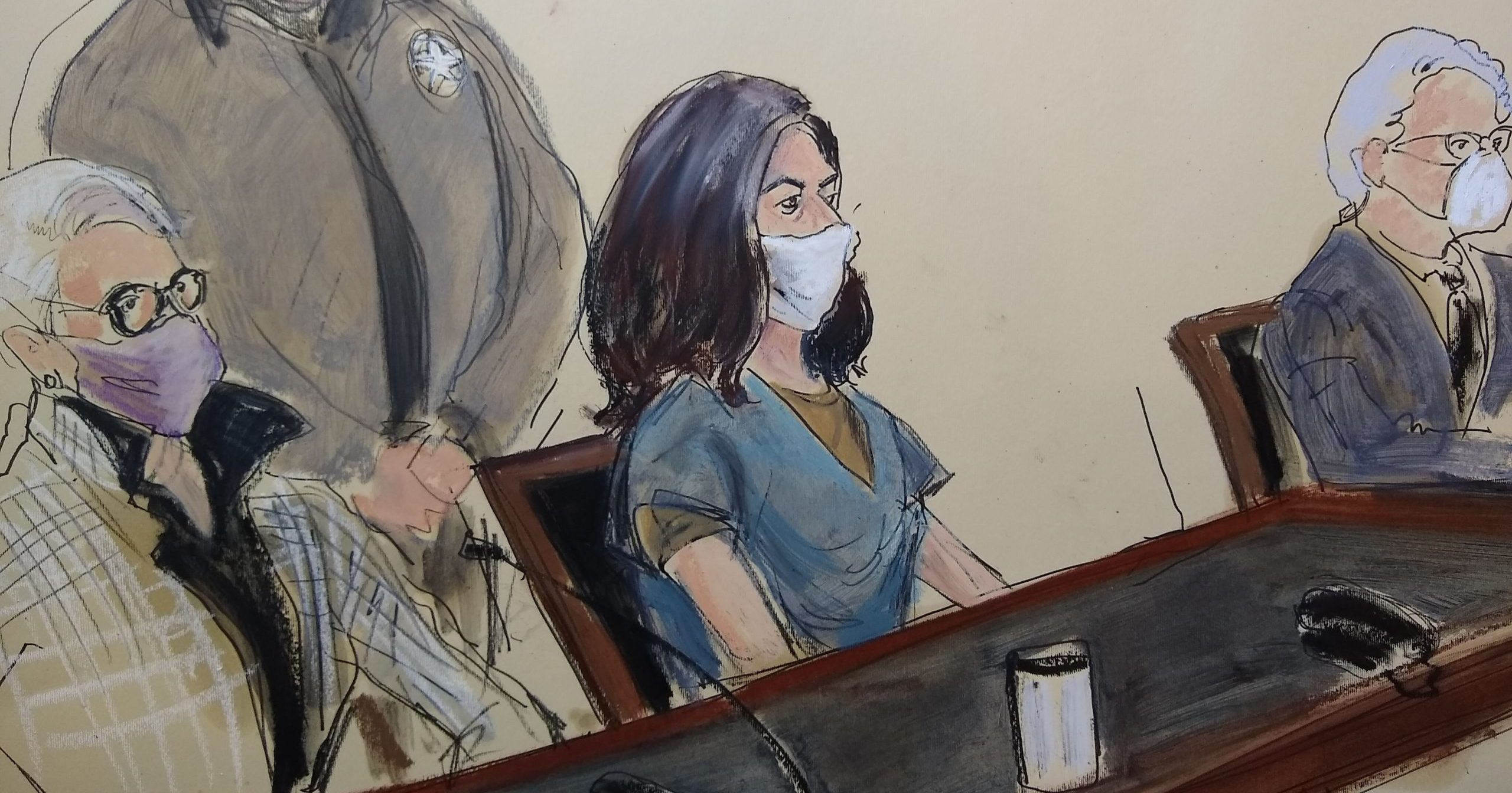This courtroom drawing shows Ghislaine Maxwell, center, flanked by her attorneys during her arraignment on Friday in New York.