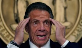 New York Governor Andrew Cuomo holds a news conference on Monday in New York City