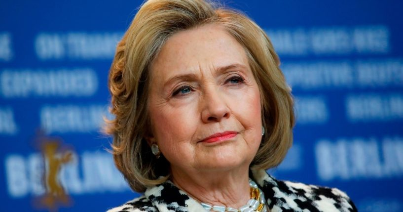 """Hillary Clinton addresses a news conference for the film """"Hillary"""" screened in the Berlinale Special category at the 70th Berlinale film festival on Feb. 25, 2020, in Berlin."""