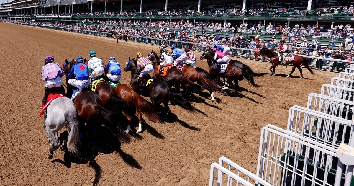 Horses break from the gate at the start of race 5 ahead of the 147th Running of the Kentucky Derby, at Churchill Downs on Saturday in Louisville.