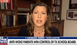 """Hannah Smith, a victorious candidate in a Saturday school board election in Texas, is interviewed by """"Fox & Friends"""" Tuesday."""